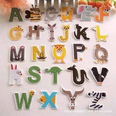 Animal Letters Badges Embroidered Iron on Hat Patch Alphabet Children Name Tags