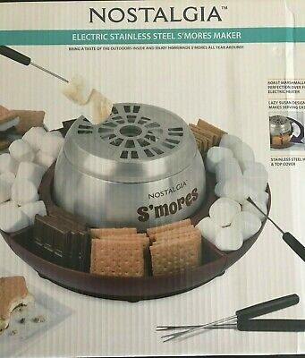 Nostalgia LSM400 Lazy Susan Electric Stainless Steel S'Mores Maker -NEW