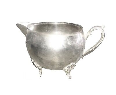 "Vintage Silver on Copper Creamer Milk Pitcher 3"" x 3"" Art Nouveau"