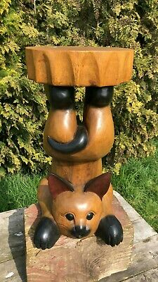 Fantastic Vintage Retro Wooden Cat Stool Small Table *