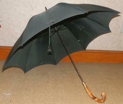 Vintage Gents Black Kendall Umbrella - 12ct Gold Collar And Bamboo Handle