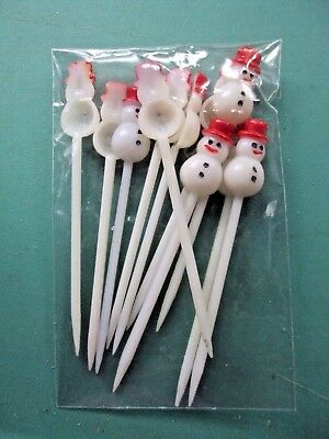 11 VINTAGE SNOWMAN PICKS Christmas Hors d'oeuvres, Cupcake Decorations
