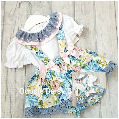 upto 24mth ☆ Baby Girls Blue Spanish Lace Bib Romper /& Blouse sets