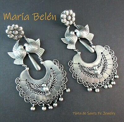 Taxco Designer Maria Belen~Oxidized 925 Traditional Mexican Dove Earrings~3-1/2""