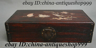 "11"" Chinese Huang Huali Wood Inlay Shell Dynasty Mandarin Duck Lotus Jewelry Box"
