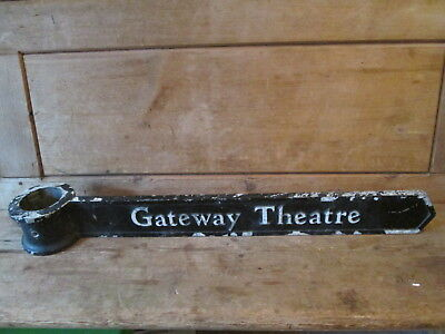 Gateway theatre direction sign.. Road sign. sign post. street sign.