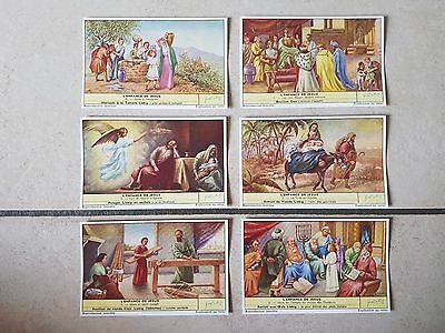 Lot chromos images cartes LIEBIG ENFANCE DE JESUS collection cromoterapia 染色体