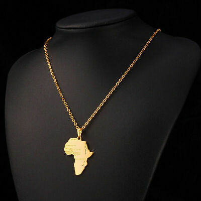 Gold or Silver Africa Necklace Pendant Chain Rasta Reggae African Afro Map