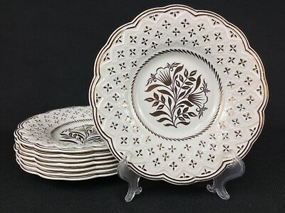 """Wedgwood Cream Gold Luster 8 8 5/8"""" Salad Plates Scalloped Embossed Floral 5522"""