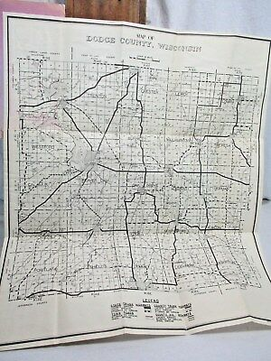 1945 Highway Map DODGE COUNTY Wisconsin PUBLISHED FOR HIGHWAY COMMISSION