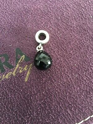 GENUINE PANDORA DANGLE BLACK FACETED GLASS DROP CHARM silver RETIRED