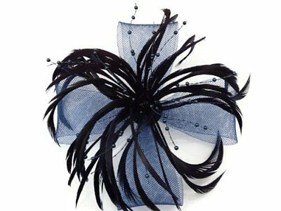Navy Blue Feather & Net Bow with Pearl Fascinator Hair Clip Brooch Corsage