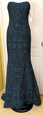 NWT Badgley Mischka Women's Sz 10 Radiant Teal Mermaid Dress Form Train $1255 MS