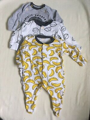 Preloved TU 3 Unisex Sleepsuits Monkey Banana Grey Yellow 1 Month Newborn