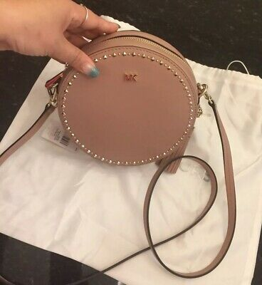 31c0d91333d8 NWT Michael Kors Med Luxe Fawn W Gol -Tone Leather Studded Circle Canteen  Bag