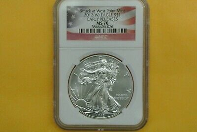 2012 (W) American Silver Eagle Ngc Ms70 Struck At West Point Early Releases