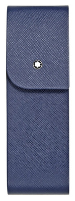 Last One - Montblanc Sartorial Saffiano Leather 2 Pen Pouch - Indigo Item 115414