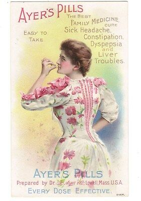 Ayer's Pills Trade Card Woman in Flowered Dress Quack Medicine Lowell, MA