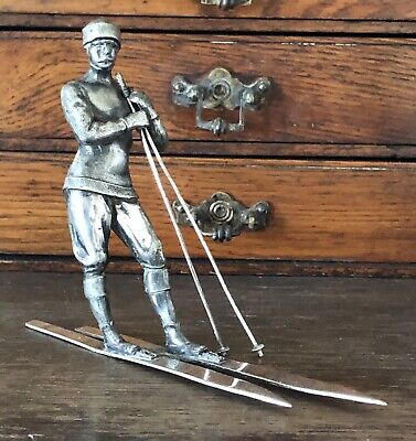 Antique Vintage Art Deco Silver Plate Sculpture /statue Of Skier- Man On Ski'S