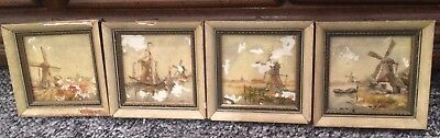 Dutch Paintings Small Tile Antique Wind Mill Ship Paintings Delft Made Holland