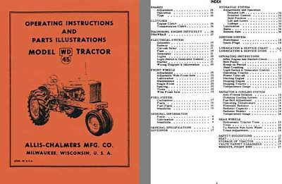 Allis-Chalmers Model WD 45 Tractor Operating Instructions and Parts Illustration