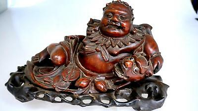 Chinese Hand Carved Wooden Buddha Dragon Statue With Base