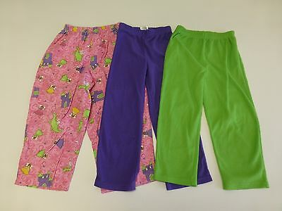 3 Pairs Pajama Pants Lot Girls Size 4-5 Pink Green Purple Good Condition