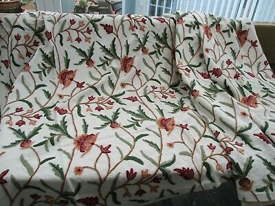 Hand embroidered crewel work fabric
