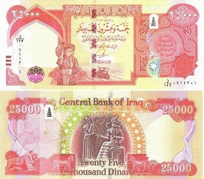 Iraqi Dinar 50,000 Sequential UNC with New Security 2 x 25,000 (2014) Fast Ship!