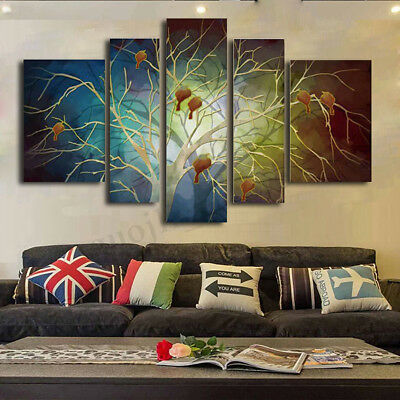 5Pcs Modern Tree Canvas Print Painting Wall Art Picture Home Decor Unframed Gift