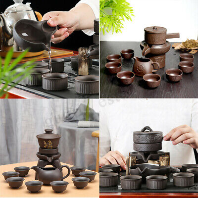 11PCS Chinese Kung Fu Infuser Tea Set Semi-automatic Purple Clay Teapot Kits