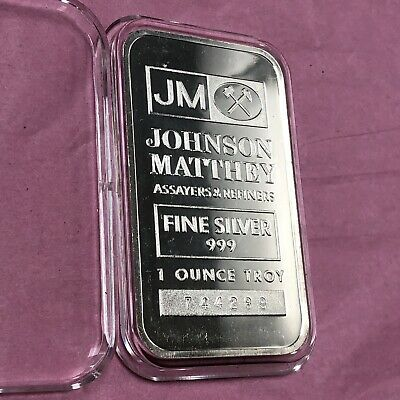 Johnson Matthey Collectible Bar 1 Troy Oz .999 Fine Silver Ingot Vintage Medal