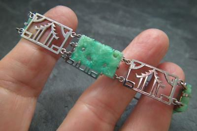 Antique Art Deco Chrome Plated Faux Carved Jade Chinese Dragon Pagoda Bracelet