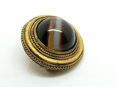 Antique Victorian Gilt Metal/Pinchbeck Etruscan Revival Banded Agate Brooch/Pin