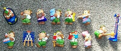 Complete set of 12 Kinder Egg Top Ten Teddies in Carnival Mood figures from 1996