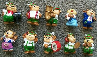 Complete vintage set of 10 Kinder Egg Top Ten Teddies (Band) figures from 1995