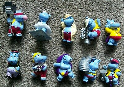 Complete set of 10 Kinder Egg Happy Hippo Hollywood Stars figures from 1997