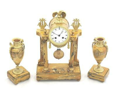Antique Mantle Clock Beautiful Sienna Marble C1900 3 Piece Garniture Set