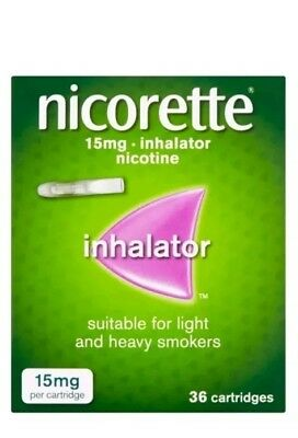 2x Nicorette Inhalator 15mg Cartridges (36). New stock Expiry 2021