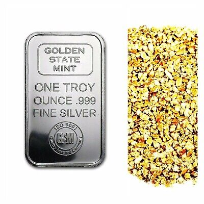 1 Troy Ounce .999 Silver Gsm Iso Bar Bu + 10 Piece Alaskan Pure Gold Nuggets