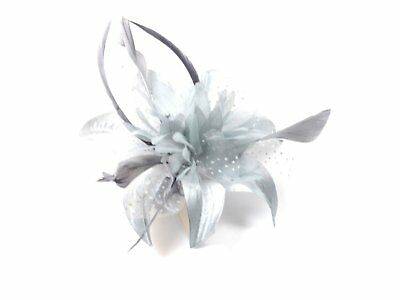 Ladies Silver Grey Wedding Fabric Flower and Feather Fascinator on Clear Comb