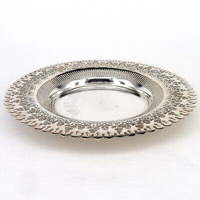 Silver Plate Or Tray Circular Art Nouveau Form With Pierced Border