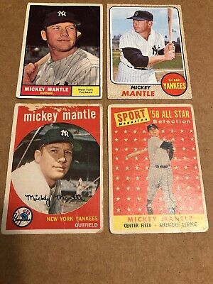 Mickey Mantle Baseball Card Lot New York Yankees 1958 1959 1961 1968 Topps