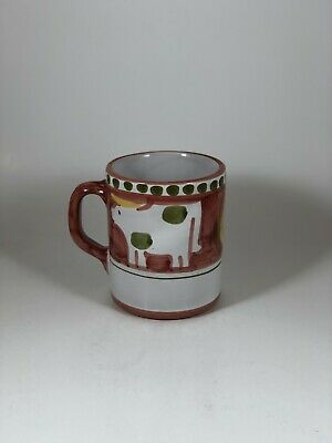 Solimene Vietri Red Cow Mug Coffee Cup Hand Painted Pottery Italy