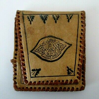 VINTAGE HAND MADE MIDDLE EAST SOFT LIGHT BROWN TOOLED LEATHER WALLET Small