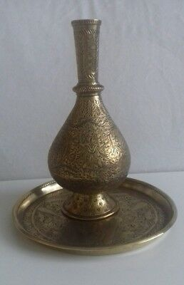 Antique Persian Hand Engraved Brass Water Jug & Tray
