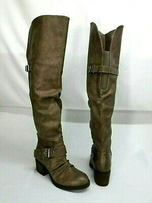 c2ee436d9cf Carlos By Carlos Santana Women s Emily Taupe Tall Riding Knee Boots Size  8.5 M