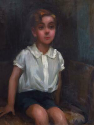mid 20th Century BRITISH original OIL Painting PORTRAIT OF A YOUNG BOY - superb!