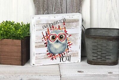 Home Decor Wood Block Sign Painted Distressed Gift Owl Love Heart