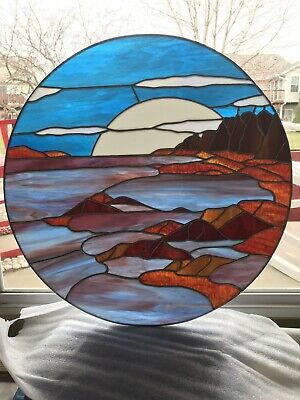 Stained Glass, Moon Rising Over Water & Rock